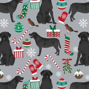 Black Lab christmas fabric cute black labrador design labrador christmas fabric