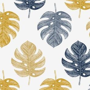 Golden monstera leaves