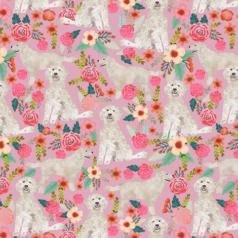 golden doodle  floral fabric cute golden doodle design best golden doodles fabric cute dogs fabric fabric by petfriendly on Spoonflower - custom fabric