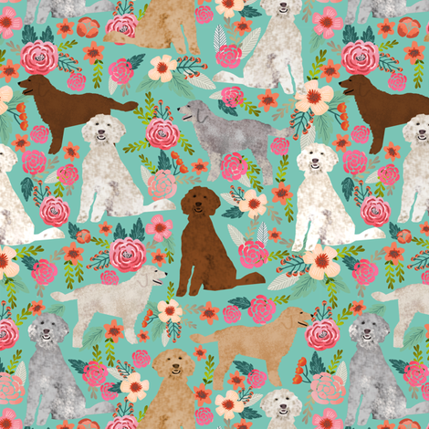 golden doodles fabric cute dog floral fabric cute golden doodle colors design best golden doodles fabric fabric by petfriendly on Spoonflower - custom fabric