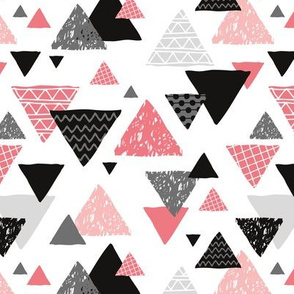 Geometric triangle aztec illustration hand drawn pattern pink