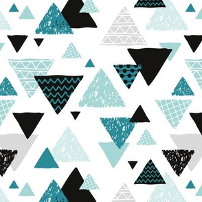 Geometric triangle aztec illustration hand drawn blue