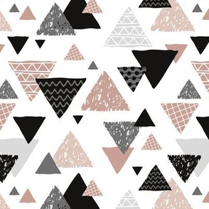Geometric triangle aztec illustration hand drawn pattern gender neutral beige