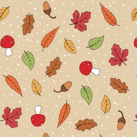 Autumn Woodland Leaves - Taupe coloured fabric by hazel_fisher_creations on Spoonflower - custom fabric