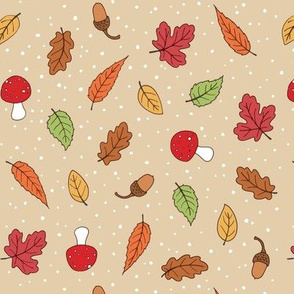 Autumn Woodland Leaves - Taupe coloured