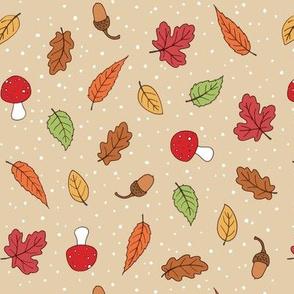 Autumn Woodland Leaves - Taupe coloured