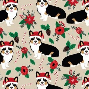 corgis dog fabric poinsettia dogs fabric cute christmas florals best christmas flowers corgi in santa hats cute dogs
