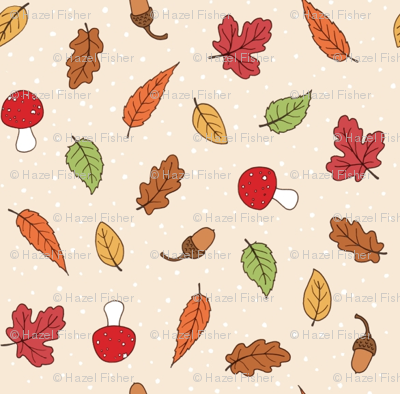 Autumn Woodland Leaves - Ditsy Cream coloured