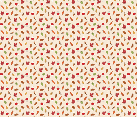 Autumn Woodland Leaves - Ditsy Cream coloured fabric by hazel_fisher_creations on Spoonflower - custom fabric