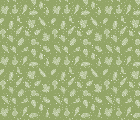 Woodland Leaves - Green and White fabric by hazel_fisher_creations on Spoonflower - custom fabric
