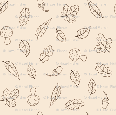 Ditsy Woodland Leaves - simple line on cream