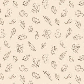 Ditsy Woodland Leaves - simple line drawing on cream