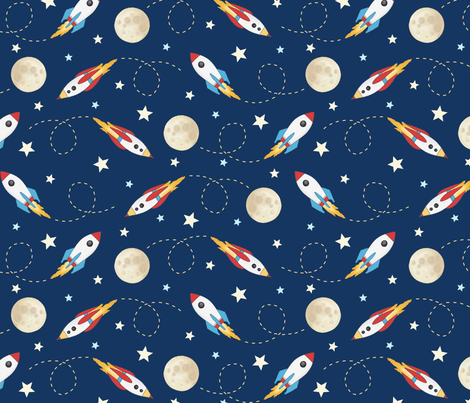 Rockets - larger scale fabric by hazel_fisher_creations on Spoonflower - custom fabric