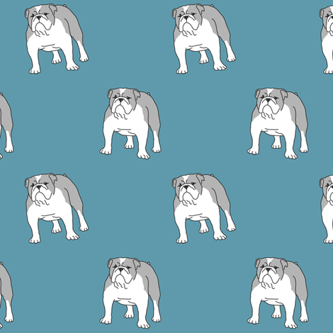 Bulldog teal fabric by darlingdearest on Spoonflower - custom fabric