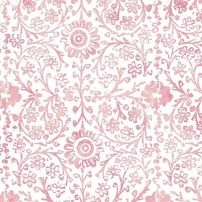 Indian Woodblock in Rose Pink on White (large scale) | Rustic floral, hand block printed pattern in pink and white, botanical print, pink block print design.