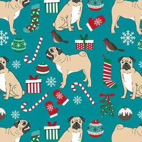 christmas pugs fabric cute pug dog design best pugs fabric cute pug dog christmas red and green christmas pugs fabric