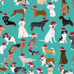 santa paws christmas dogs fabric cute christmas pets design best dog christmas fabric