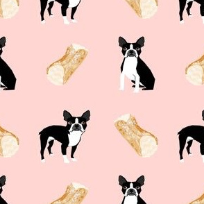 boston terrier cannoli fabric cute pink desserts fabric cute dog design best boston terriers