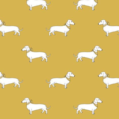 dachshund_mustard fabric by darlingdearest on Spoonflower - custom fabric