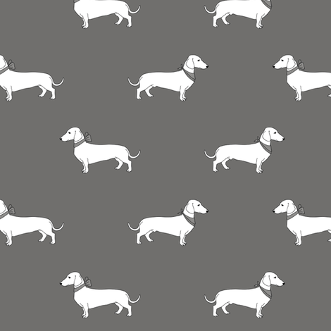 dachshund_gray fabric by darlingdearest on Spoonflower - custom fabric
