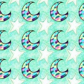 Project 103 | Mosaic Moon and Stars | Aqua