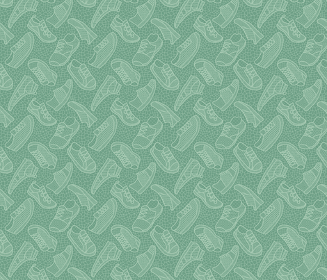 Lace up your sneakers - spring aqua fabric by mongiesama on Spoonflower - custom fabric
