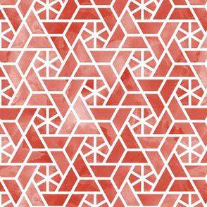 Watercolor lattice - autumn red