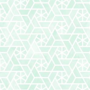 Watercolor lattice - trendy mint