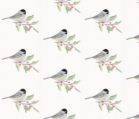 Chickadee -watercolor fabric by happy_soul on Spoonflower - custom fabric