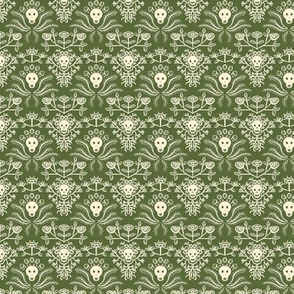Skulls and Roses Damask in green