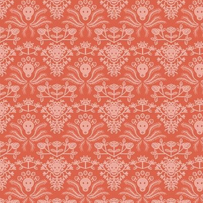 Skulls and Roses damask in orange