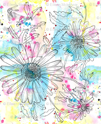 Montauk Daisies on Watercolor