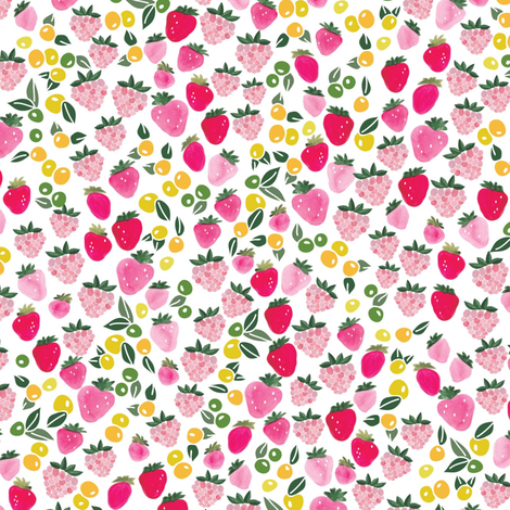 Berry crazy in yellow and green fabric by thislittlestreet on Spoonflower - custom fabric