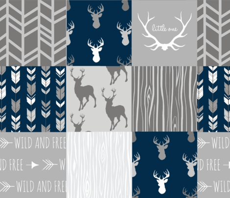 Wholecloth Quilt- navy and Grey Deer fabric by sugarpinedesign on Spoonflower - custom fabric