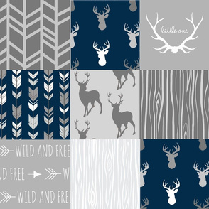 Wholecloth Quilt- navy and Grey Deer