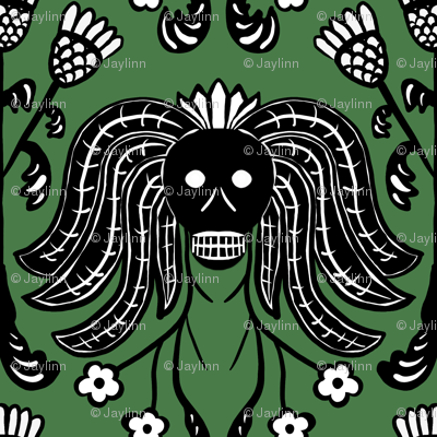 Skulls and Thistles (green)