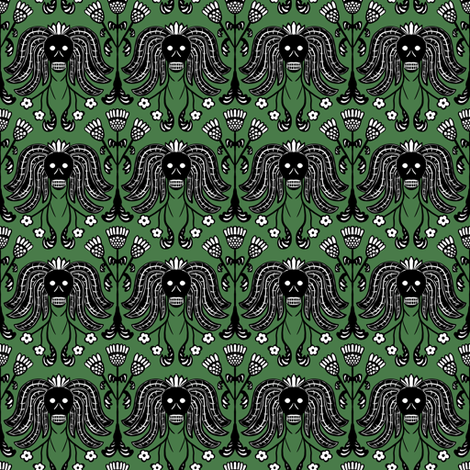 Skulls and Thistles (green) fabric by jaylinn on Spoonflower - custom fabric