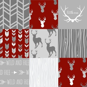 Wholecloth Quilt- Scarlet and Grey - woodland Patchwork Deer Antlers and Arrows