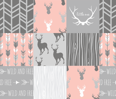 Wholecloth Quilt- Coral  and Grey Deer a Patchwork  Squares fabric by sugarpinedesign on Spoonflower - custom fabric