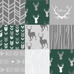 Wholecloth Quilt- Evergreen and Grey Deer-ch-ch-ch-ch-ch