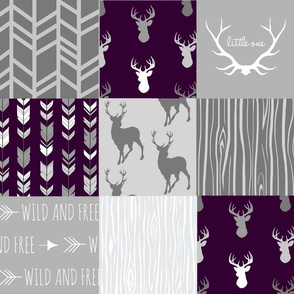 Wholecloth Quilt- Eggplant and Grey Deer