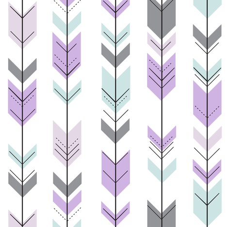 fletching arrows (small scale) || lilac grove fabric by littlearrowdesign on Spoonflower - custom fabric
