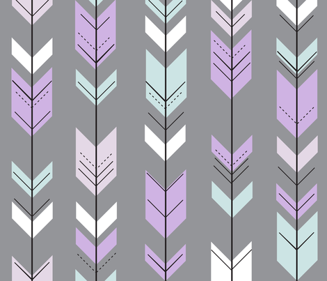 fletching arrows (pewter) || lilac grove fabric by littlearrowdesign on Spoonflower - custom fabric
