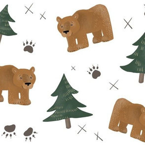 Bears, Trees, and Paw Prints - Larger Scale