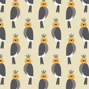 Cockatiels in beige