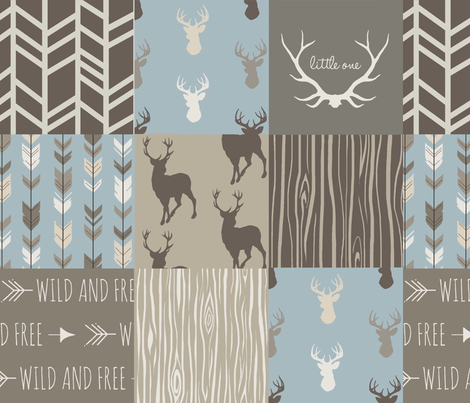 Wholecloth Quilt- Taupe and Blue -Deer Antlers a patchwork Quilt - Woodland neutrals - Hunting fabric by sugarpinedesign on Spoonflower - custom fabric