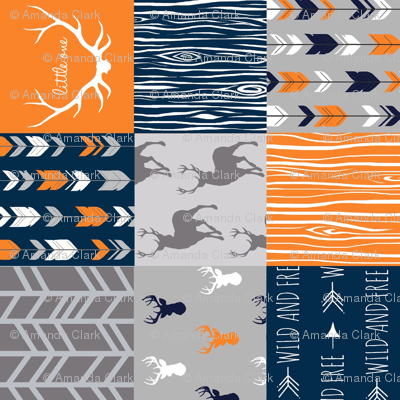 "4"" Wholecloth Quilt- Navy, Orange, Grey -Patchwork Deer Arrows Woodgrain"