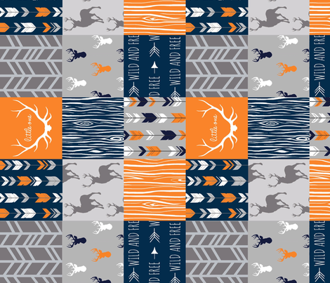 "4"" Wholecloth Quilt- Navy, Orange, Grey -Patchwork Deer Arrows Woodgrain fabric by sugarpinedesign on Spoonflower - custom fabric"