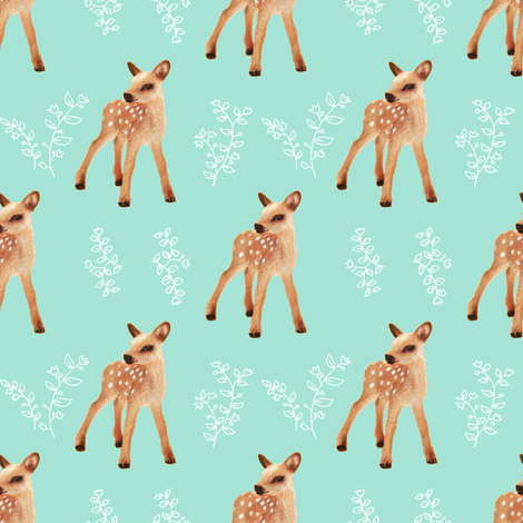 Bambi FAWN II on Pastel Blue Green fabric by thistleandfox on Spoonflower - custom fabric