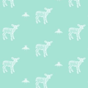 Deer and Bee on Tiffany Blue